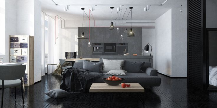 48 square meters apartment. suspended-light-fixtures