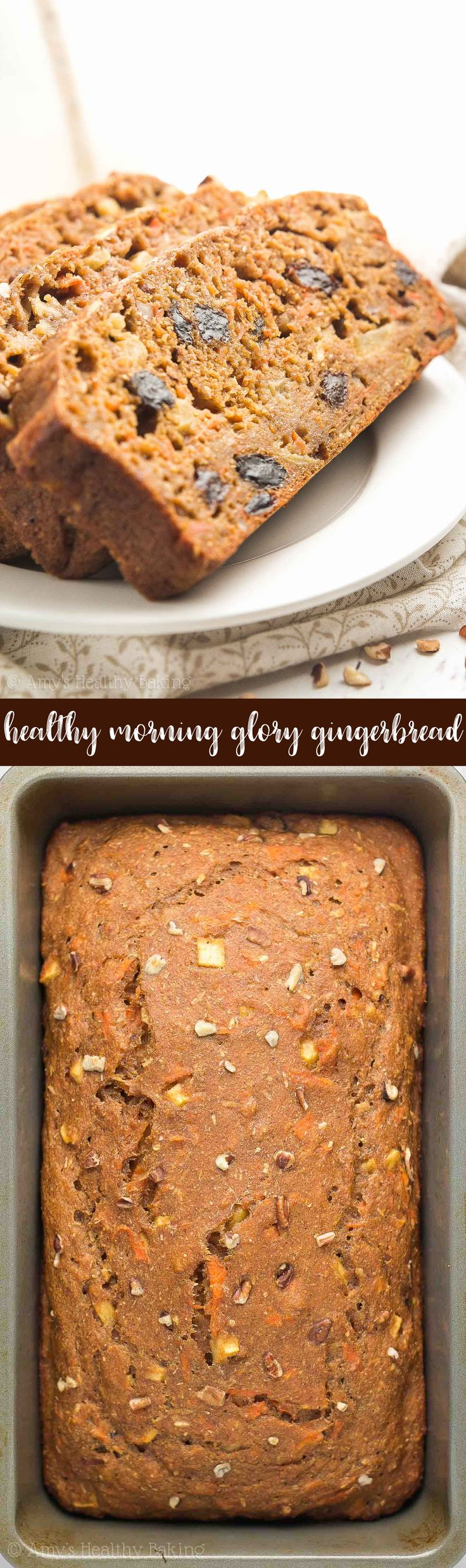 {HEALTHY!} Morning Glory Gingerbread -- only 144 calories & the BEST gingerbread I've ever had! It's SO easy to make & perfect for breakfasts or snacks. This recipe is definitely a keeper! #healthy #recipe #glutenfree #cleaneating