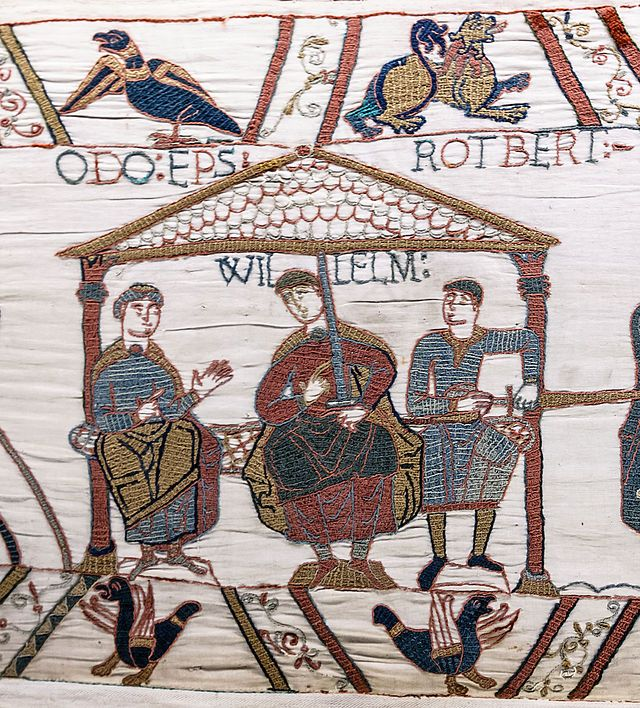 "John Treneglos ""traced his ancestry back to Robert, Count of Mortain"" (Ross Poldark 3, viii). Robert, Count of Mortain, 2nd Earl of Cornwall (c. 1031–1090) - Norman nobleman and the half-brother of William I of England; one of the participants at the Battle of Hastings. At the time of the Domesday Book he was one of the greatest landholders in England. Pictured: scene in the Bayeux Tapestery depicting ""Rotbert,"" Count of Mortain, and his brothers (wiki)."