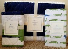 POTTERY BARN KIDS ALLIGATOR MADRAS TODDLER QUILT + CRIB SHEET + SHAM NEW SET BOY