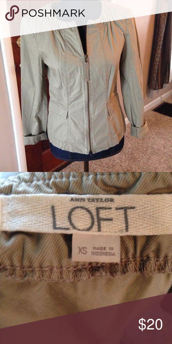 Khaki Dressy Jacket Super cute and preppy.  Very nice, like new. Optional rolled sleeves. LOFT Jackets & Coats