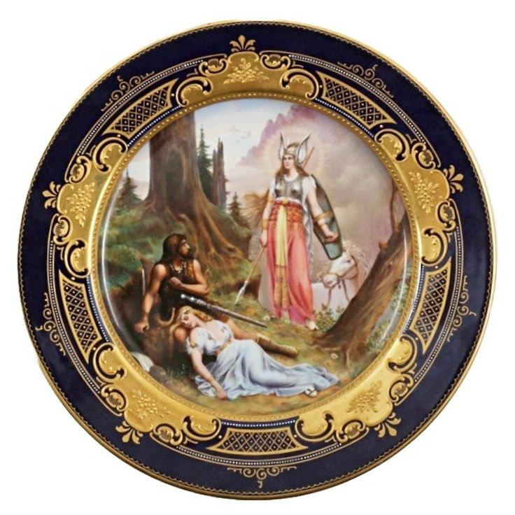 "Royal Vienna ""Die Walkure"" Hand Painted Porcelain Plate, Signed"