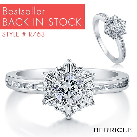 """Round Cut Cubic Zirconia CZ 925 Sterling Silver Snowflake Fashion Ring  This lovely snowflake fashion ring is made of fine sterling silver, stamped with a """"925"""" quality mark and rhodium plated. Features AAA grade round cut 6-prong set cubic zirconia (0.46 carat, 5mm). Accented with 28 round cut and baguette cut, pave and bezel set CZ. Stones total weight is 0.98 carat. Band measures 1.5mm - 2.5mm in width and weighs 2.7 gram. This ring is nickel free and hypoallergenic."""
