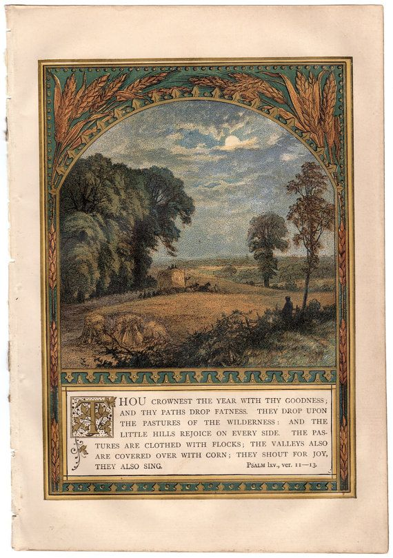 Original chromolithograph from the 1871 Victorian magazine Sunday at Home, depicting an harvest scene with Psalm 65:11  This is a genuine page from