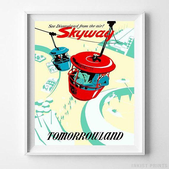 Disneyland Skyway Tomorrowland Home Decor Poster - Prices from $9.95 - Click Photo for Details - #disneyland#disneyfan#disneyattractions#babyroomdecor#vintage#Tomorrowland #skyway