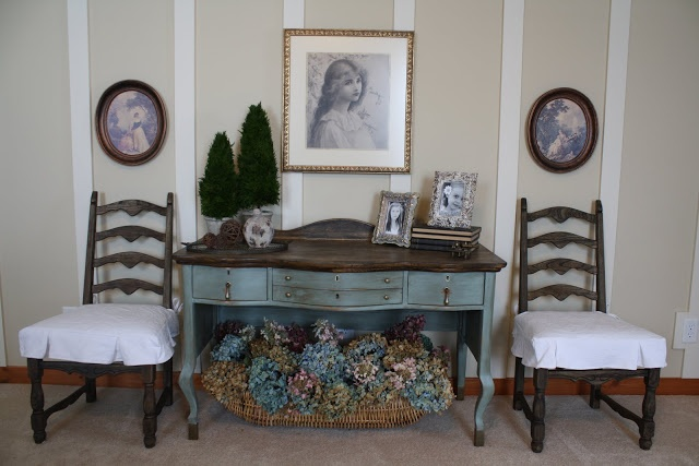 Willow Wisp Cottage: My Second Hand Bedroom - walls off white, dark antique furniture and blue bedding
