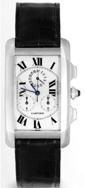 Cartier Tank Americaine W2603356 18K White Gold & Leather White Dial Quartz 45mm Men