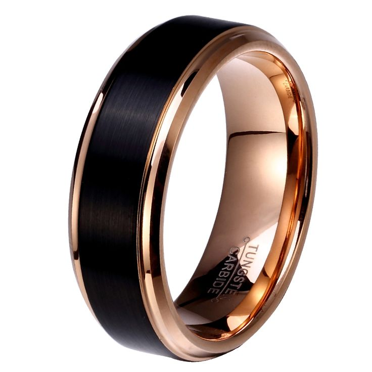 8mm/6mm/4mm Black & Rose Gold Plate Tungsten Carbide Wedding Band for Boy and Girl Friendship Ring Russian Men Simple Jewelry