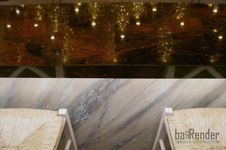 Bar counter detail - Top: Granite Red Hollywood, Front: Stucco Pietra Spaccata - Barbalexis Oriental Restaurant in Athens