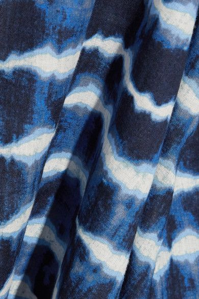 Tory Burch - Tory Embellished Tie-dyed Cotton-voile Tunic - Blue - US