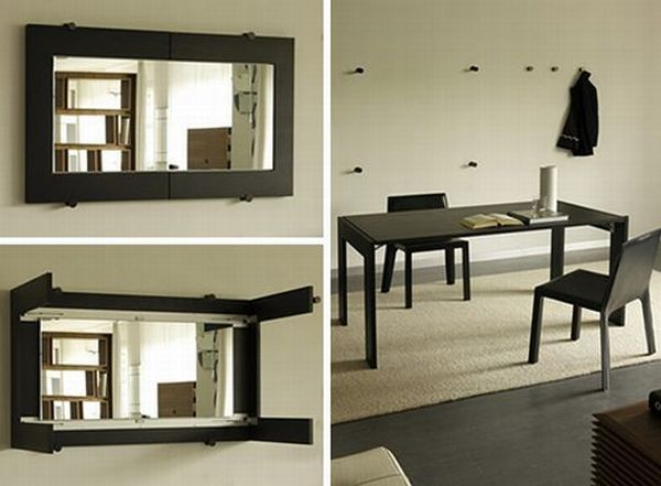 mirror fold out dining room table