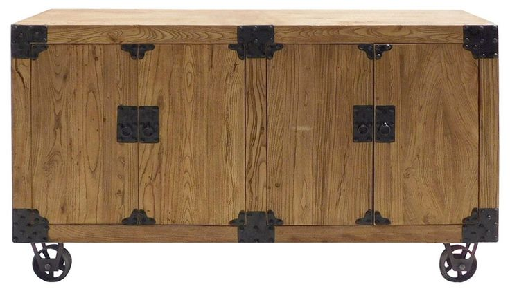 Chinese Rough Wood Industial Iron Hardware Sideboard Cabinet cs1322S