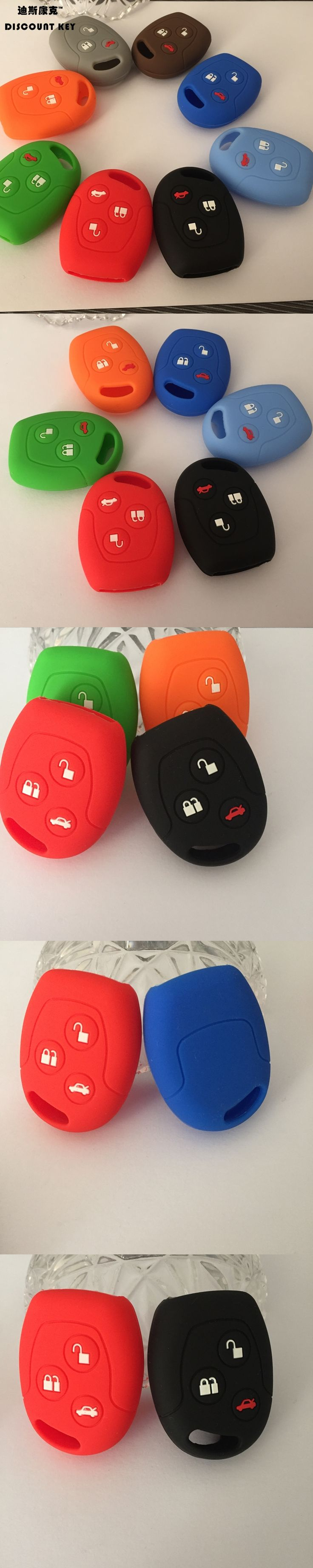 Silicone car key case cover car accessories for  ford Mondeo Fiesta Focus C-Max KA 3 buttons remote case