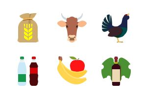 The Foodstuff. Flat colorful icons.
