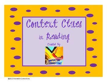 Use this one-page context clues handout as a warm-up activity, at ...