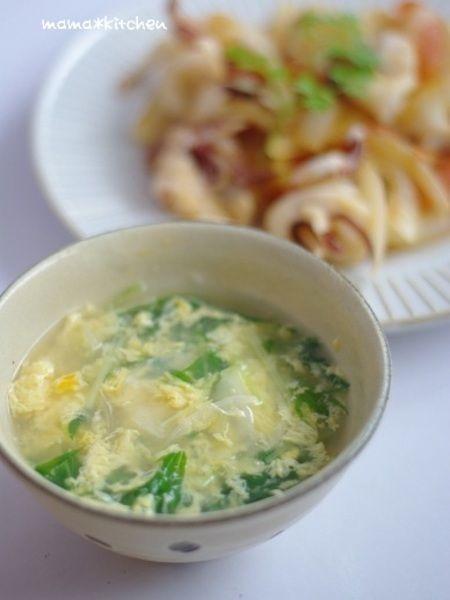 水菜と玉ねぎの玉子スープ