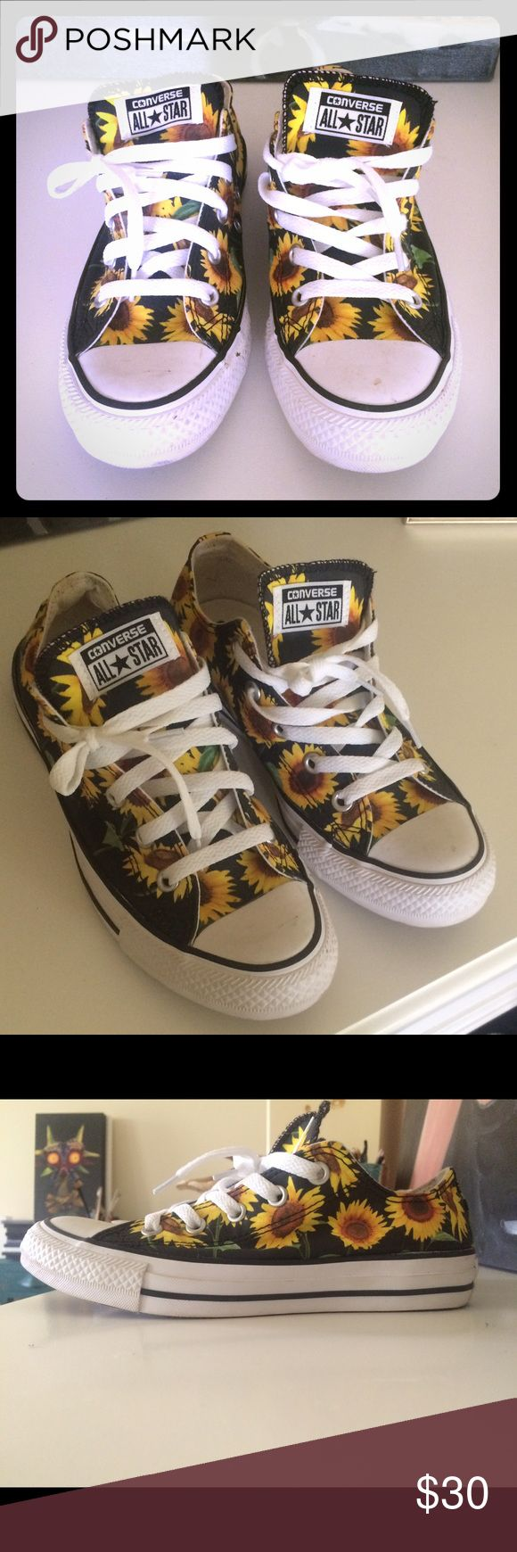 Sunflower print converse Size 6, only worn once, in great condition Converse Shoes Sneakers