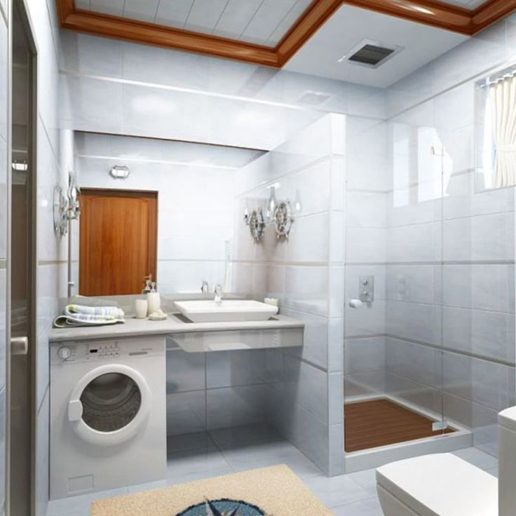 Glass and Laundry Small Bathroom Interior