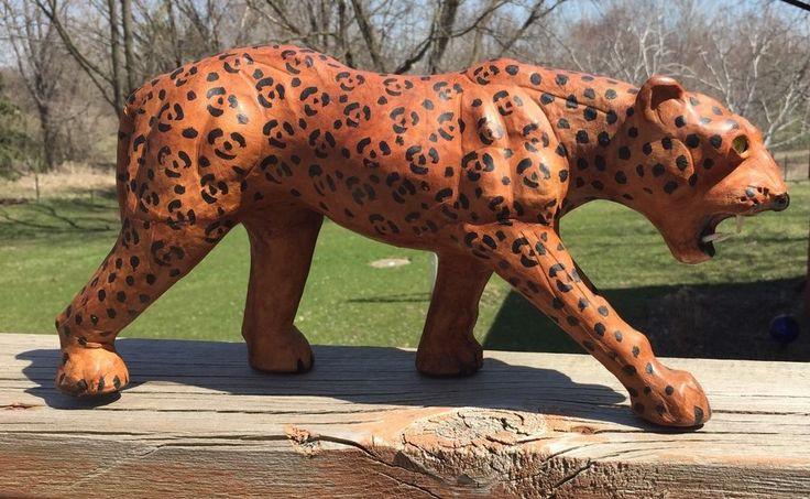 Vintage Papier Mache Jaguar Big Cat Leopard Figurine