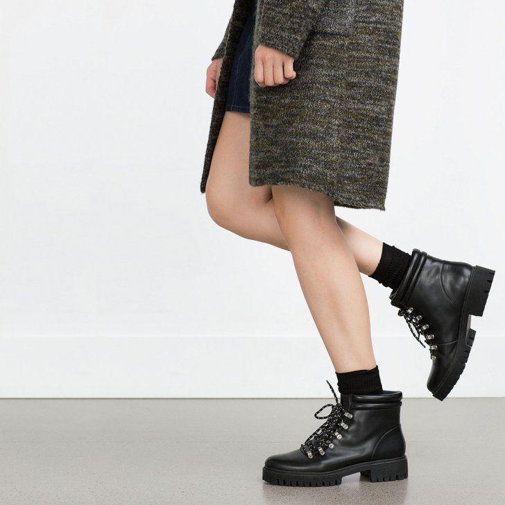 Pin for Later: Die 20 besten Ankle Booties für einen stylischen Herbst  Zara flache Bergsteiger-Stiefelette (60 €)