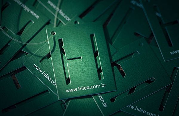 Hilea logo and tag with die cut detail