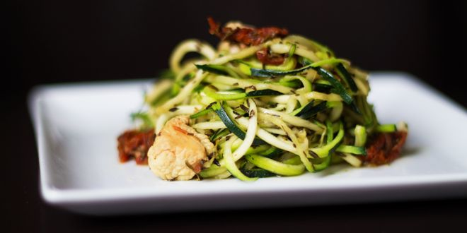 Zucchini Noodles with Chicken and Sundried Tomatoes