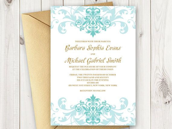 33 best wedding invitation templates elegant ironwork images on diy printable wedding invitation template elegant ironworks in blue green turquoise tiffany and gold colors stopboris Gallery