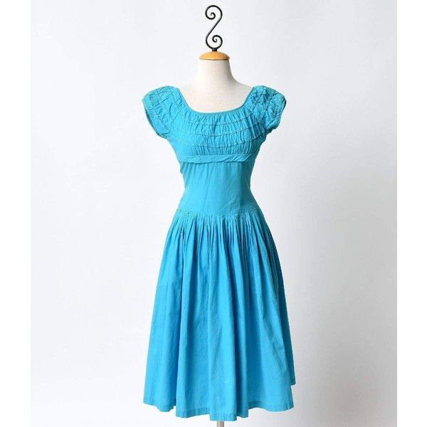 Vintage 1950s Tiffany Blue Peasant Swing Dress (€70) ❤ liked on Polyvore featuring dresses, multicolor, ruffle dress, blue swing dress, trapeze dress, ruching dress and vintage swing dress
