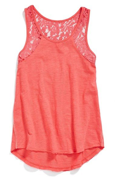 Roxy 'Wild Lagoon' Lace Inset Tank (Big Girls) available at #Nordstrom