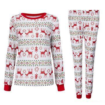 Sólo €17.96 , compra Pijamas de las mujeres de la familia de los ciervos navidad larga ropa de dormir ropa de dormir 2pcs parte superior y pantalones en Banggood.com. Comprar moda Las mujeres ropa de noche en línea.