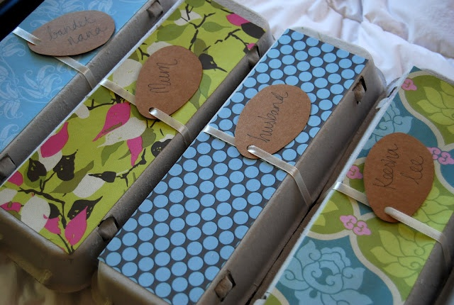 Easter gifts - personalised egg boxes filled with chocolates