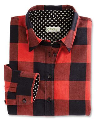 Women's Plaid Shirt / Buffalo-Plaid Dot-Trim Shirt -- Orvis