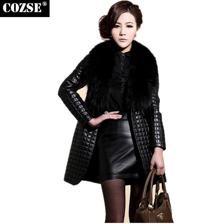 Leather Jackets Women 2016 Women's Winter Leather Jacket With Fur Collar New Fashion Long Style Black Jacket Suede plus Coat