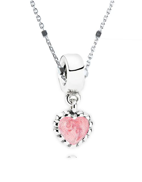 Buy Sterling Silver Pink Heart Necklace Online - NetJewel