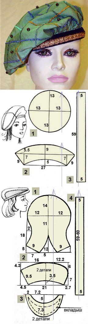 Как сшить берет своими руками   Выкройка берета   Sewing _ clothes _ patterns_Шитье_Одежда_Выкройки   Постила