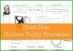 FREE Hudson Taylor Missionary Printables, plus unit study ideas. This is a wonderful addition to your homeschool!