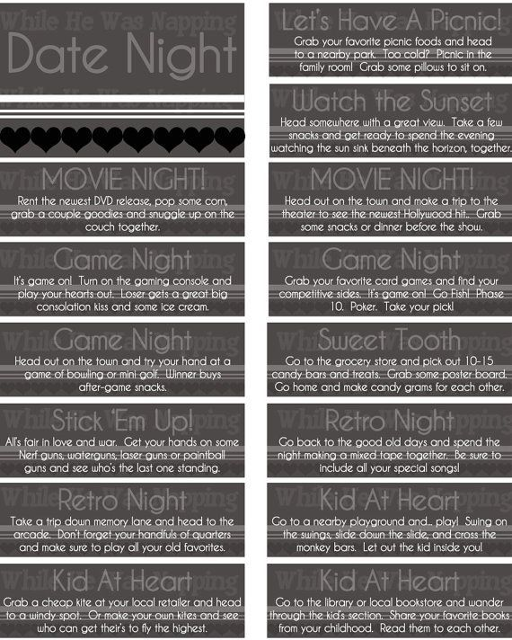 Free Printable Date Ideas for Date Night Jar! Cute ideas! www.50nights.com by carlene