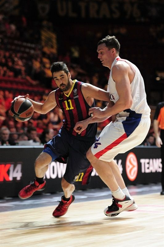 Juan Carlos Navarro, basketball player of FC Barcelona Baloncesto (blaugrana n°11) was wearing Nike Hyperdunk 2013 – University Red / Black – Wolf Grey during during the Third Place Euroleague Final match against CSKA Moscow Basket. 18.5.2014
