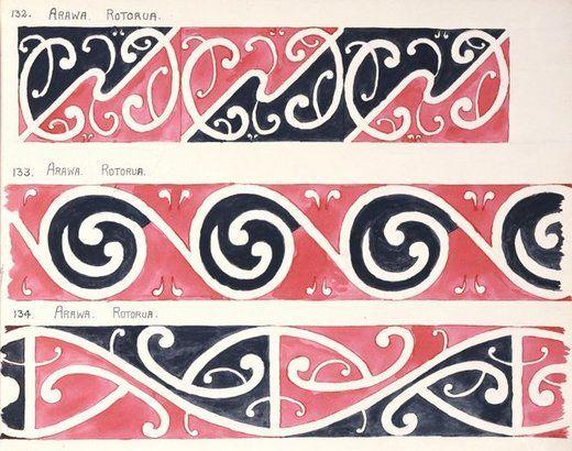 Godber, Albert Percy, 1876-1949 :[Designs for rafter patterns]. 132. Arawa, Rotorua; 133. Arawa, Rotorua; 134. Arawa, Rotorua. [1940-1942?]