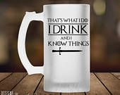 Game of Thrones Beer Mug, Thats What I Do I Drink and I know things Beer Mug, Game of Thrones Gift, Tyrion Lannister, Beer Stein GOT MSA135 #got #gameofthrones #idrinkandiknowthings #tyrion #lannister #beer #beermug #stein #lol #funny #winteriscoming
