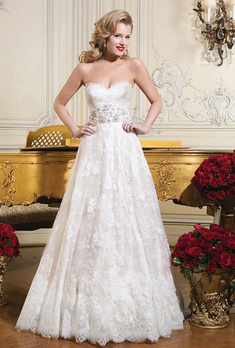 Brides: Justin Alexander. Chantilly lace ball gown emphasized with a sweetheart neckline.