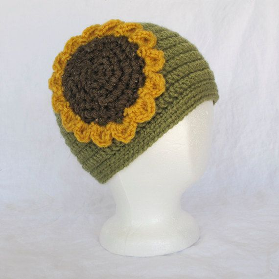 Ladies Sunflower Crocheted Cap by CarolsThreads on Etsy