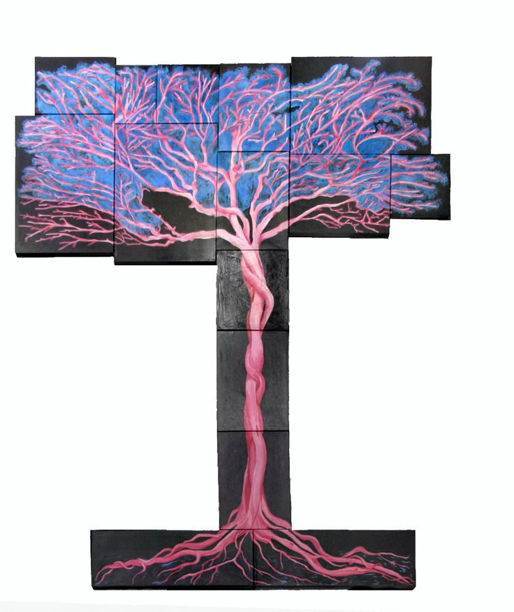Oil painting consists of 15 separate canvases, The tree in pink di LabLiu su Etsy #etsy #dipinti #arte #albero #rosa #blu #arredamento #salotto #casa #home