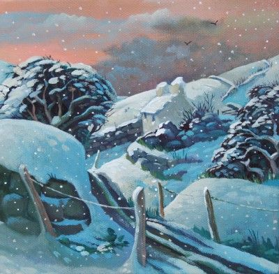 More Snow by Evening by British Contemporary Artist Jo MARCH winter nature art countryside snow