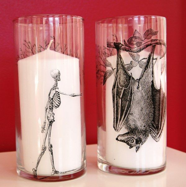 DIY Spooky Hurricane Glass Candle Holders Using Waterslide Decals You Print