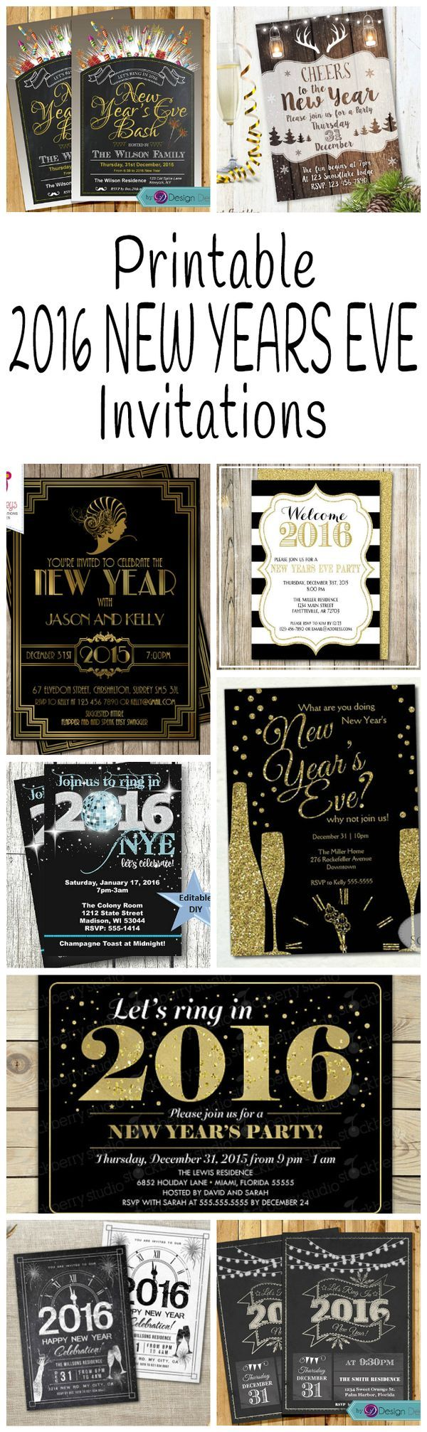 DIY Printable 2016 New Years Eve Party Invitations