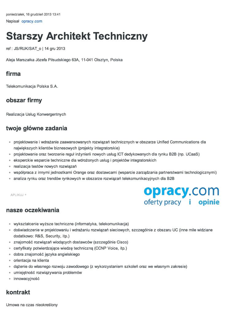 Starszy Architekt Techniczny - Olsztyn http://opracy.com/oferty-pracy/warminsko-mazurskie/175/starszy-architekt-techniczny