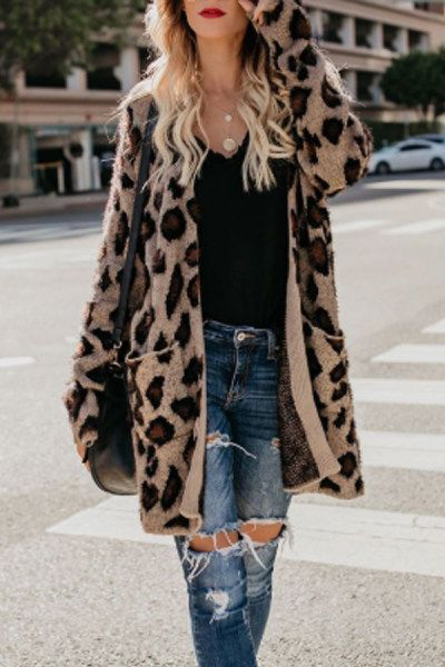 caac14861658 Collarless Flap Pocket Leopard Printed Outerwear | Fashion in 2019 | Fashion,  Leopard print cardigan, Leopard print outfits