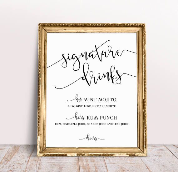Wedding Signature Drink Sign, Custom Wedding Signs, Signature Drink Sign Printable, Signature Drinks, His And Hers Signature Drinks Sign