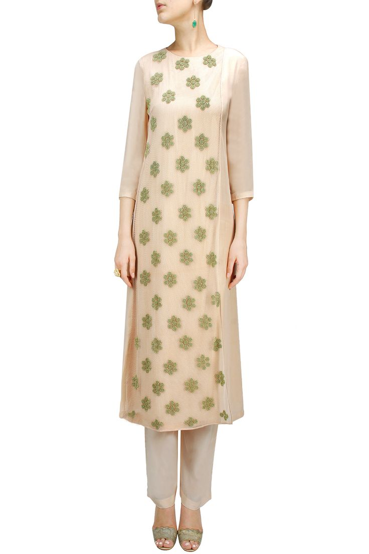 Skin colour floral embroidered kurta set by ILK.Shop now at: www.perniaspopups